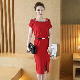 Short-sleeve Slit-front Dress
