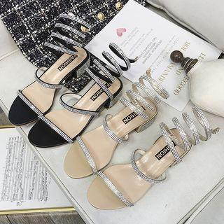 Rhinestone Block-heel Sandals