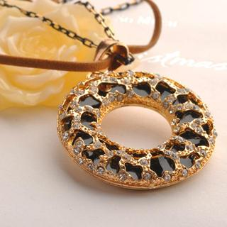 Circle Leopard Necklace Black - One Size