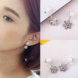 Rhinestone Snowflake Faux Pearl Earrings