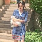 3/4-sleeve Patterned A-line Mini Beach Dress