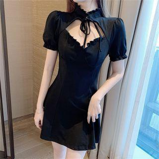Set: Short-sleeve Mini A-line Dress + Lace Fingerless Gloves Set - Dress - Black - One Size / Glove - Black - One Size
