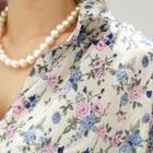 Elbow-sleeve Floral Print Blouse