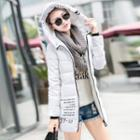 Lettering Hooded Long Padded Coat