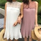 Lace Panel Sleeveless Pleated Dress
