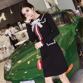 Long-sleeve Collared Contrast Trim Knit Dress