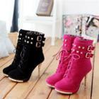 Studded Buckle Heel Short Boots