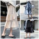 Mesh Panel High-waist Midi A-line Skirt