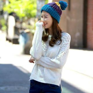 Round-neck Pointelle-knit Top