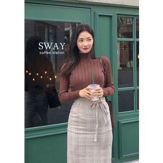 Plaid H-line Long Skirt & Sash