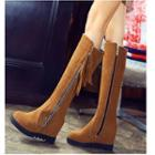 Platform Hidden Wedge Tasseled Tall Boots