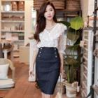 Double-breast Denim Stitched Skirt