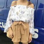 Set: Off Shoulder Long-sleeve Blouse + Shorts