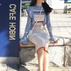 Long-sleeve Color Block Knit Dress / Midi Dress