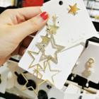 Non-matching Rhinestone Alloy Star Dangle Earring 1 Pair - Gold - One Size