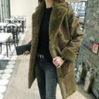 Faux Suede Wool Coat