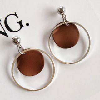 Alloy Hoop & Disc Dangle Earring 1 Pair - Stud Earring - As Shown In Figure - One Size