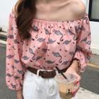 Flamingo Print Off-shoulder Chiffon Blouse