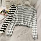 Striped Cropped Light Knit Top