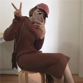 Rib-knit Midi Hooded Sweater Dress