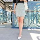 Colored Lace Mini Pencil Skirt