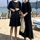 Elbow-sleeve A-line Dress / Midi Dress