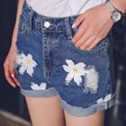 Flower Print Distressed Denim Shorts