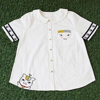 Cat Embroidered Short-sleeve Shirt