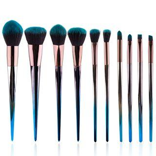 Set Of 10: Makeup Brush Set Of 10: Grayish Blue - One Size