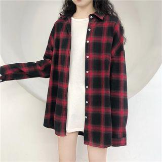 Plaid Shirt / Long-sleeve Plain T-shirt