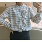 Ruffle Trim Plaid Shirt As Shown In Figure - One Size