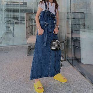 Maxi A-line Denim Pinafore Dress