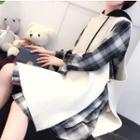 Set: Plaid Long-sleeve Shirt Dress + Long Vest