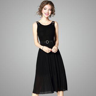 Sleeveless Buckled Knit Dress