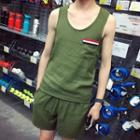 Set: Linen Cotton Tank Top + Shorts