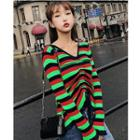 Striped Drawstring Knit Top