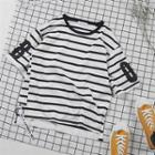 Elbow-sleeve Striped Ring Detail Top
