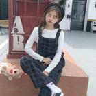 Checked Cropped Jumper Pants / Jumper Dress