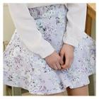 Flower Patterned A-line Mini Skirt