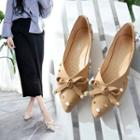 Embellished Bow Pointed Flats
