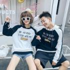 Couple Matching Hooded Lettering Raglan Pullover