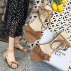 Ankle-strap Bow Low-heel Sandals