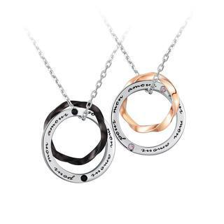 Left Right Accessory - 925 Silver Interlocking Ring Necklace - Couple Set