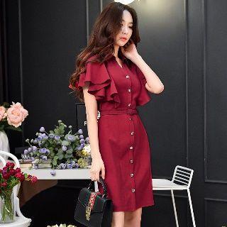 Short-sleeve Cape Dress