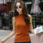 Mock-turtleneck Sleeveless Knit Top