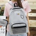 Cartoon Pins Canvas Mesh Pocket Backpack With Zipper Pouch
