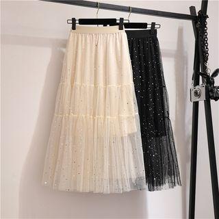 Glitter Mesh A-line Midi Skirt