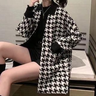 Set: Open-front Houndstooth Coat + Belt