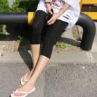 Elastic-waist Cropped Leggings Pants