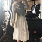 Plain Hoodie / Midi Pleated Skirt